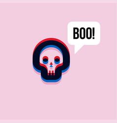 skull saying boo 3d effect abstract character vector image