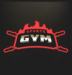 Sports gym logo on a dark background vector