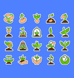 sprout colorful patch sticker icons set vector image
