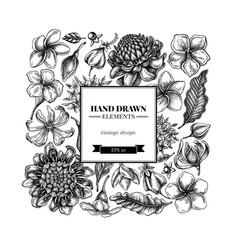Square floral design with black and white plumeria vector