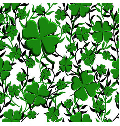 st patricks day seamless pattern green clover vector image