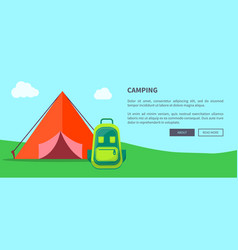 summer camping template with tent and backpack vector image
