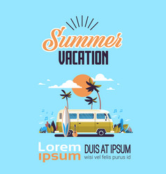 summer vacation surf bus sunset tropical beach vector image