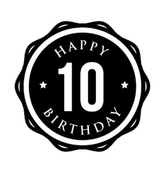 Ten years happy birthday badge ribbon vector image