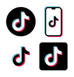 tik tok icon tricolor flat melody icon vector image