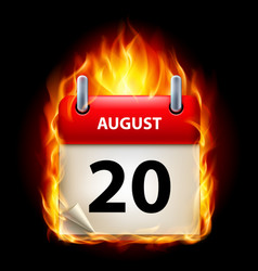 Twentieth august in calendar burning icon on vector
