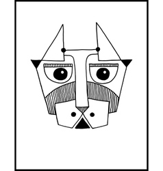 Unusual hand draw with a head of dog face portrait vector