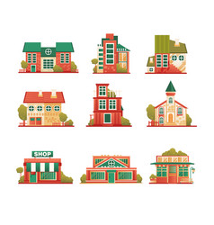 urban and suburban buildings facade set brick vector image