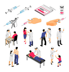 Vaccination isometric set vector