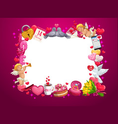 valentines day hearts and love holiday gifts frame vector image