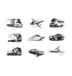 Vehicle Types Monochrome Symbols Set vector image