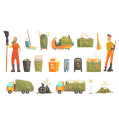 Waste recycling and disposal related object around vector