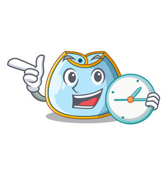 With clock cartoon baby bib on a clothesline vector