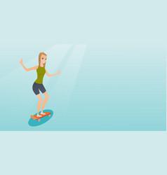 Young caucasian woman riding skateboard vector
