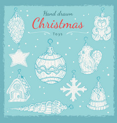 christmas toys set in hand drawn style vector image