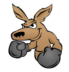 cute kangaroo with boxing gloves vector image vector image