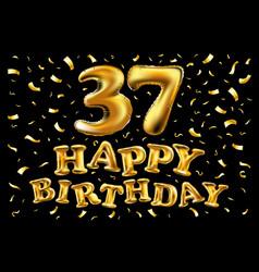 golden number 37 thirty seven metallic balloon vector image