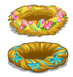 holiday nest with painted eggs easter symbol vector image