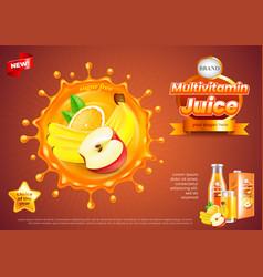 Multivitamin juice ads fruits in splash vector