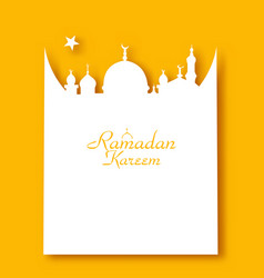 ramadan kareem greeting card in form mosque vector image vector image