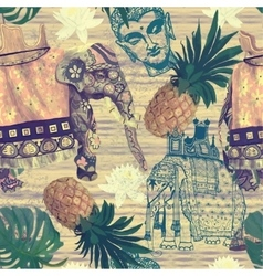 Samless pattern in vintage style with indian vector image vector image