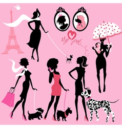 Set of black silhouettes of fashionable girls vector image vector image