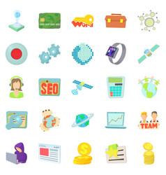 Telecommunications icons set cartoon style vector