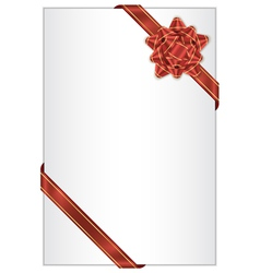 white background with red bow vector image