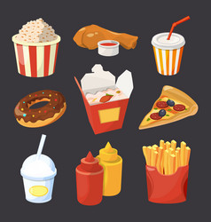 collection of fast food pictures in cartoon vector image vector image