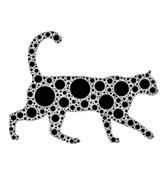 dotted cat silhouette vector image vector image