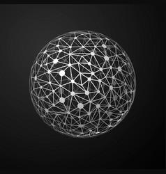 global connections metallic sphere on dark vector image vector image