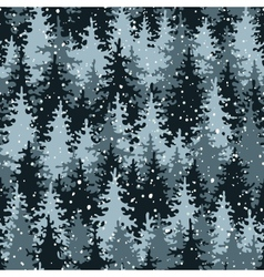 Heavy snow in the pine forest vector image