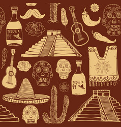 mexico seamless pattern doodle elements hand vector image vector image