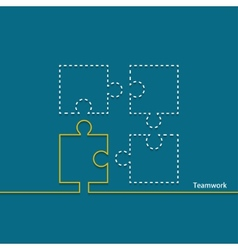 modern teamwork background Puzzle icons vector image
