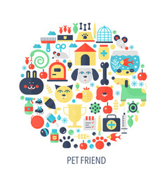pet friend flat infographics icons in circle - vector image