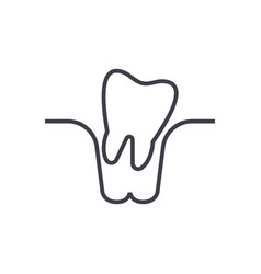 tooth extraction line icon sign vector image