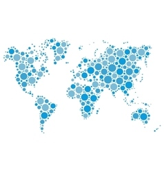 World map mosaic of blue dots vector