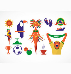 Brazil icons and vector image vector image