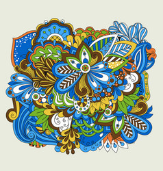 doodle flower set on white vector image