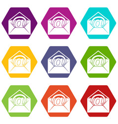 envelope with email sign icon set color hexahedron vector image