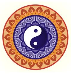 Lotus Yin Yang Design vector image