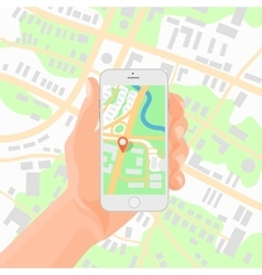 Man holding smartphone in hand with mobile gps vector image