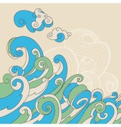 Retro sea waves background vector image vector image
