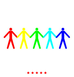team work concept icon different color vector image