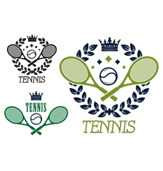 Tennis championship emblems or badges vector image vector image