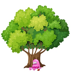 A poisoned pink monster under the tree vector image vector image