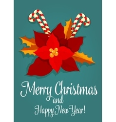 Christmas flower and candy greeting card design vector image vector image