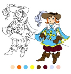 Coloring book kids play musketeer theme 4 - eps10 vector image vector image