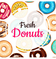fresh donuts colorful background vector image