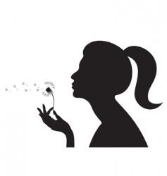 girl with dandelion vector image vector image